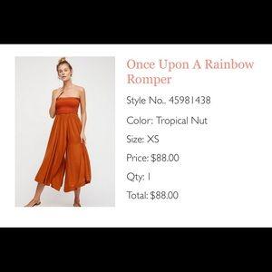 Free People strapless orange culotte  jumper